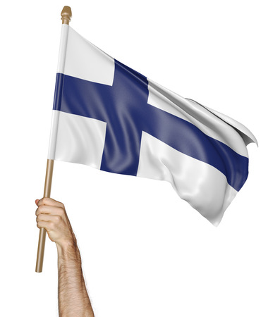 finnish: Hand proudly waving the national flag of Finland