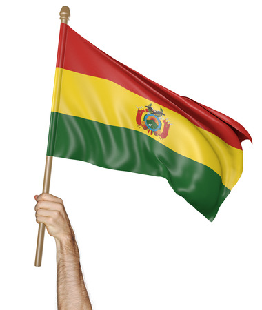 demonstrator: Hand proudly waving the national flag of Bolivia