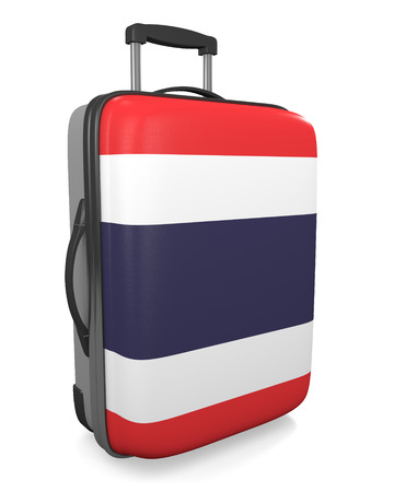carryall: Thailand vacation destination concept of a flag painted travel suitcase