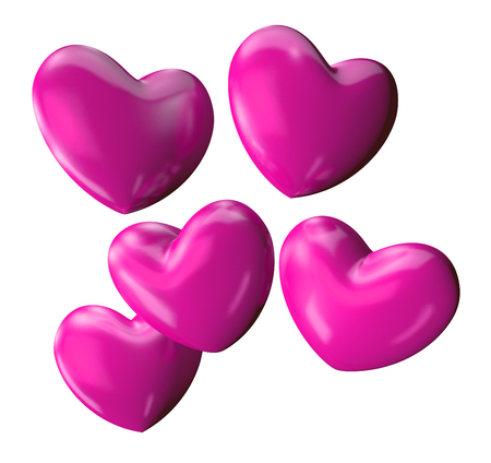 Bunch of pink 3D Valentines Day hearts Imagens