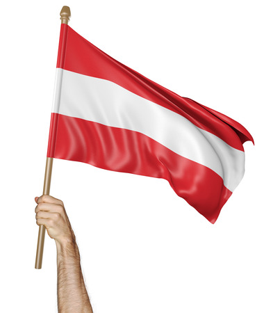 proudly: Hand proudly waving the national flag of Austria
