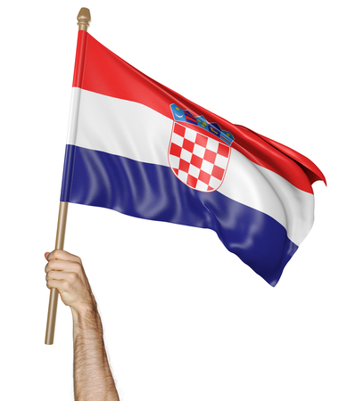 proudly: Hand proudly waving the national flag of Croatia Stock Photo
