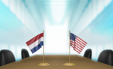 conversaciones: Pa�ses Bajos y Estados Unidos las relaciones y las negociaciones comerciales de acuerdo representaci�n 3D Foto de archivo