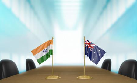 conversaciones: India y Australia las relaciones y las negociaciones comerciales de acuerdo representación 3D