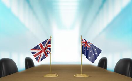 conversaciones: United Kingdom and Australia relations and trade deal talks 3D rendering