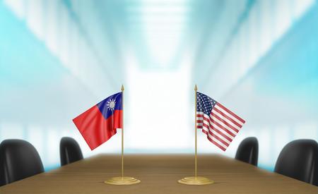 conversaciones: Taiwán y Estados Unidos las relaciones y las negociaciones comerciales de acuerdo representación 3D Foto de archivo