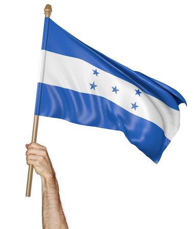 bandera honduras: Agitando la mano con orgullo la bandera nacional de Honduras