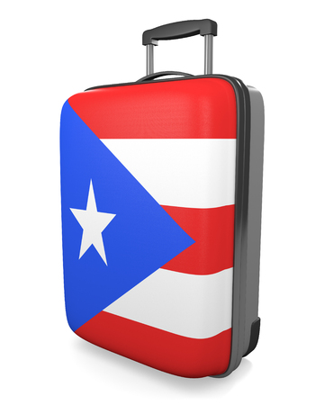 puerto rican flag: Puerto Rico vacation destination concept of a flag painted travel suitcase