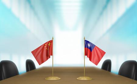 conversaciones: China y Taiw�n y las relaciones acuerdo comercial conversa representaci�n 3D