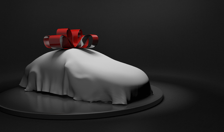 unveil: 3D car wrapped under a sheet and big red bow Stock Photo
