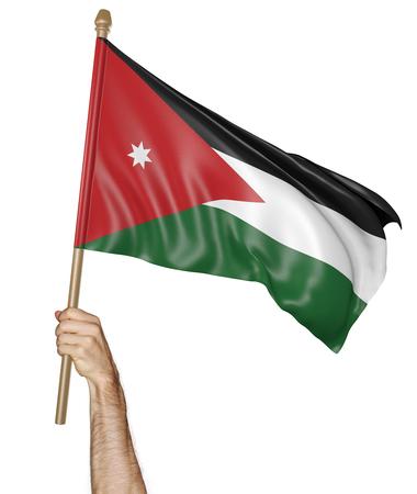 personas saludando: Agitando la mano con orgullo la bandera nacional de Jordania