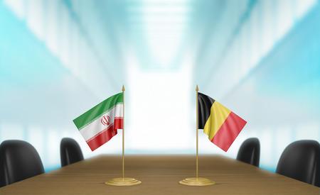 conversaciones: Irán y Bélgica las relaciones y las negociaciones comerciales de acuerdo representación 3D