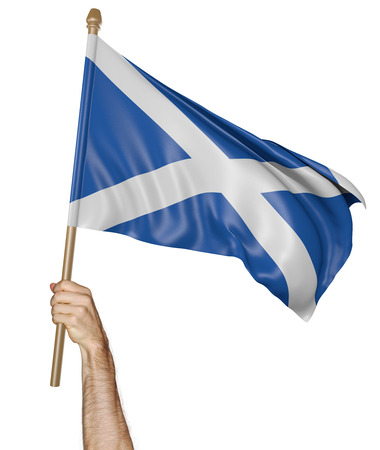 demonstrator: Hand proudly waving the national flag of Scotland Stock Photo