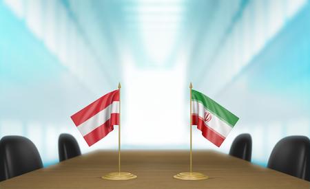 conversaciones: Austria e Irán relaciones y negociaciones comerciales de acuerdo representación 3D