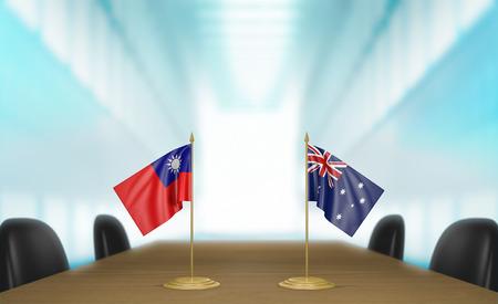 conversaciones: Taiwán y Australia las relaciones y las negociaciones comerciales de acuerdo representación 3D Foto de archivo