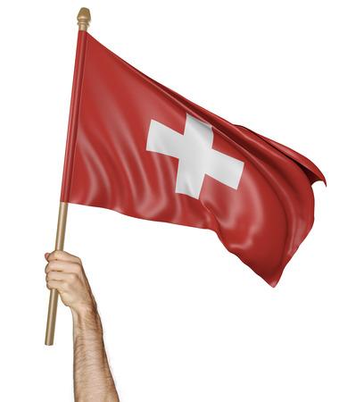 switzerland flag: Hand proudly waving the national flag of Switzerland