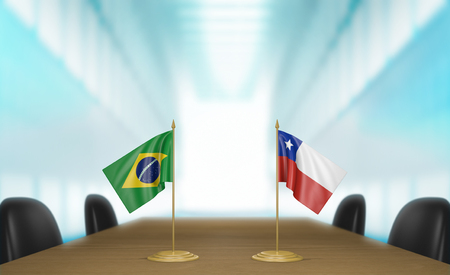 conversa: Brazil and Chile relations and trade deal talks 3D rendering Foto de archivo