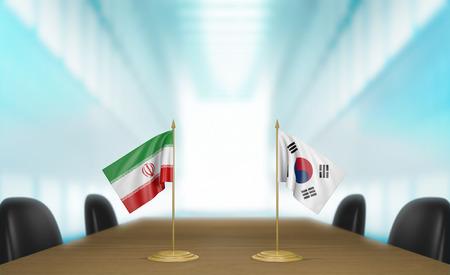 conversaciones: Iran and South Korea relations and trade deal talks 3D rendering Foto de archivo