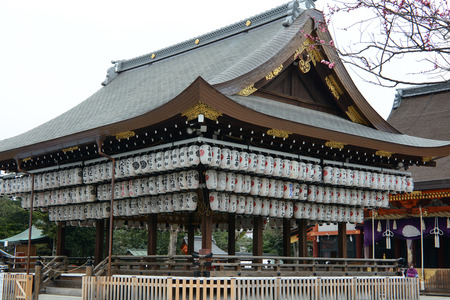 religious building: Yasaka Shrine stage and lanterns in Kyoto City, Japan