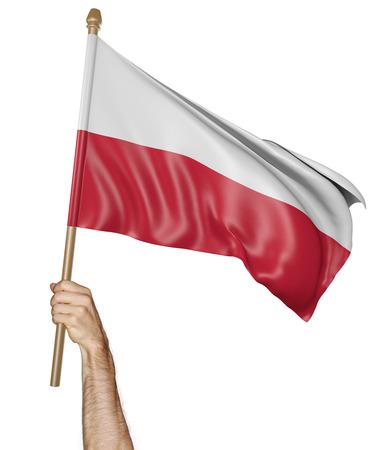 polish flag: Hand proudly waving the national flag of Poland