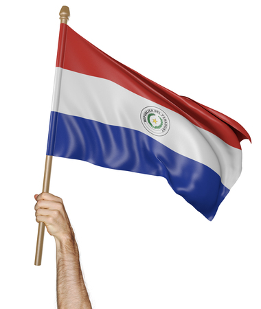 proudly: Hand proudly waving the national flag of Paraguay