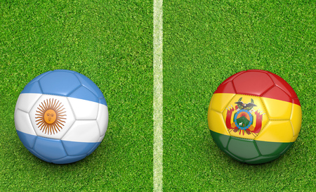preliminary: Qualifier preliminary football match between country teams Argentina and Bolivia
