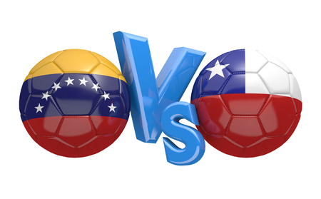 football teams: Preliminary competition football match between national teams Venezuela and Chile