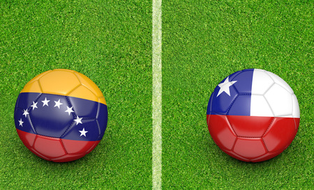 kickball: Qualifier preliminary football match between country teams Venezuela and Chile