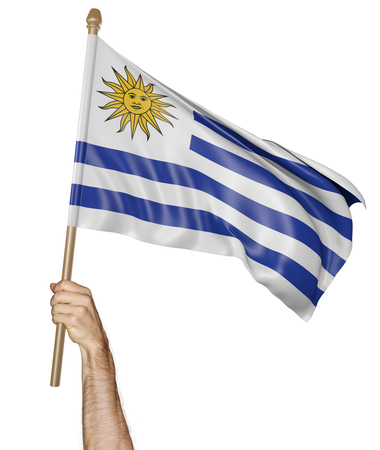 proudly: Hand proudly waving the national flag of Uruguay Stock Photo