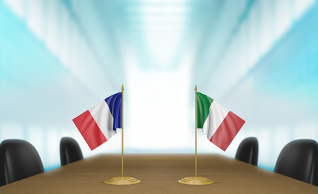 union flag: France and Italy relations and trade deal talks 3D rendering Stock Photo