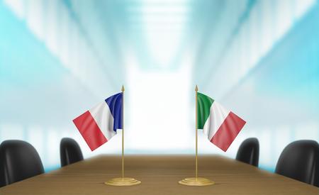 conversaciones: Francia e Italia, las relaciones y las negociaciones comerciales de acuerdo representaci�n 3D Foto de archivo