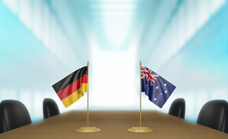 talks: Germany and Australia relations and trade deal talks 3D rendering Stock Photo