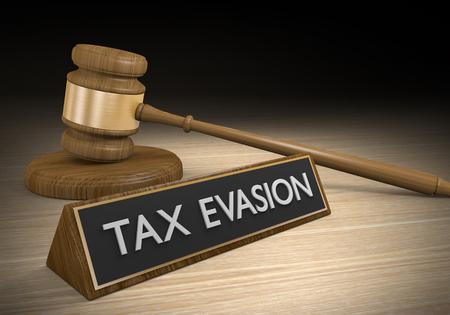 Évasion fiscale à travers des régimes illégaux et des lois en rupture, rendu 3D