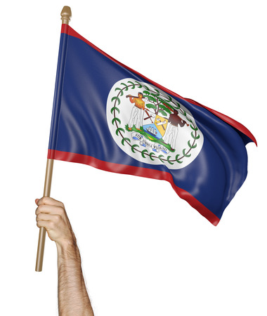 proudly: Hand proudly waving the national flag of Belize