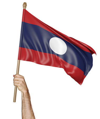 proudly: Hand proudly waving the national flag of Laos Stock Photo