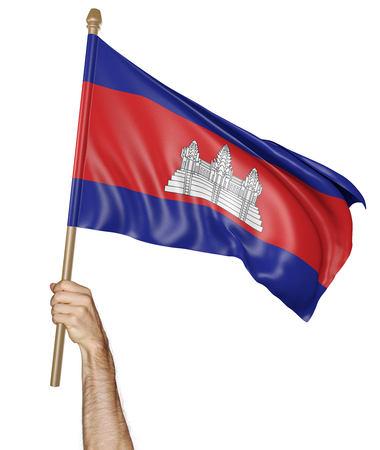 demonstrator: Hand proudly waving the national flag of Cambodia