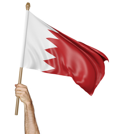 demonstrator: Hand proudly waving the national flag of Bahrain, 3D rendering Stock Photo