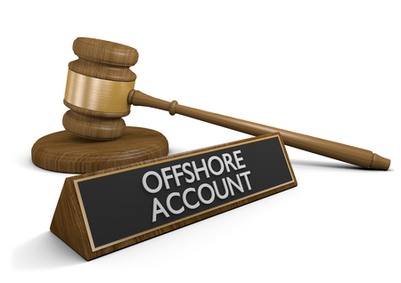 hidden taxes: Court law dealing with offshore money accounts that avoid taxes, 3D rendering Stock Photo