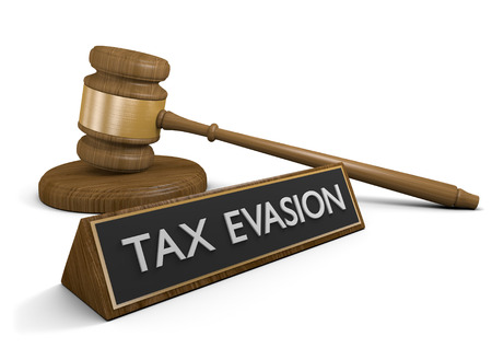 hidden taxes: Court law against actions taken to evade taxes, 3D rendering Stock Photo