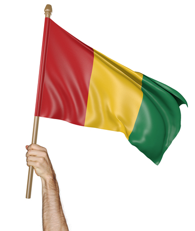 proudly: Hand proudly waving the national flag of Guinea, 3D rendering Stock Photo