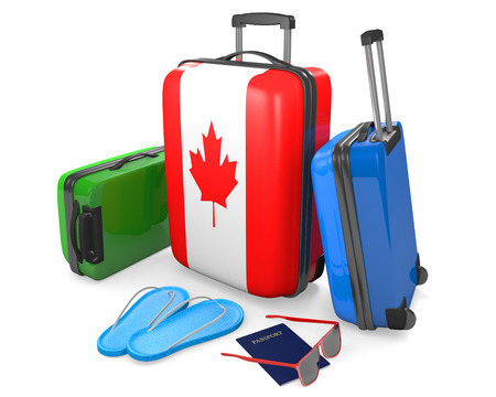 Travel luggage items and accessories for a vacation to or from Canada, 3D rendering