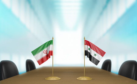 talks: Iran and Syria relations and trade deal talks, 3D rendering