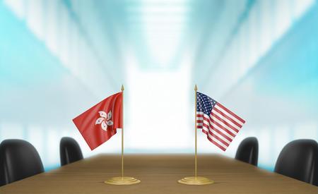 conversaciones: Hong Kong y Estados Unidos las relaciones y conversaciones acuerdo comercial, representación 3D