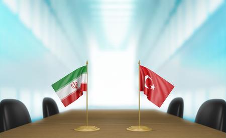 conversaciones: Irán y Turquía, las relaciones y conversaciones acuerdo comercial, 3D Foto de archivo