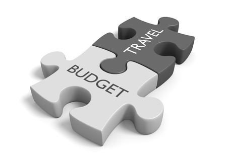 Two connected puzzle pieces with the words budget travel, 3D rendering Stock fotó