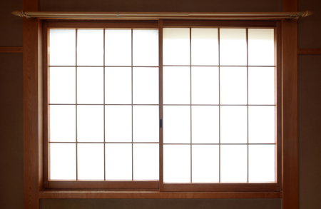 wooden window: Traditional Japanese rice paper window with sliding wooden frame