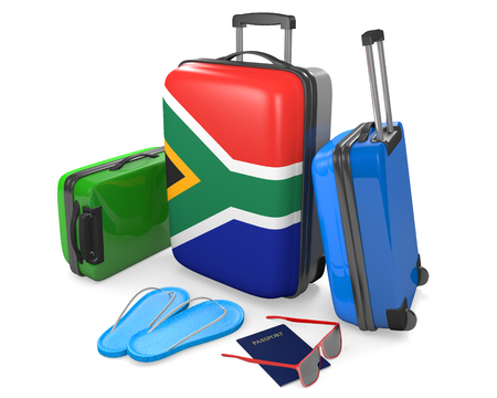 south: Travel luggage items and accessories for a vacation to or from South Africa, 3D rendering