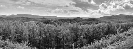 great smokies: Black and white landscape panorama of Appalachian Mountains and rolling hills Stock Photo