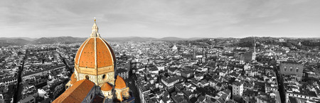 white color: Black and white panorama of the city of Florence, Italy with selective color on the cathedral
