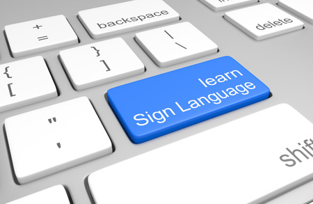 languages: Learn Sign Language key on a computer keyboard for online classes to speak, read, and write the language, 3D rendering Stock Photo